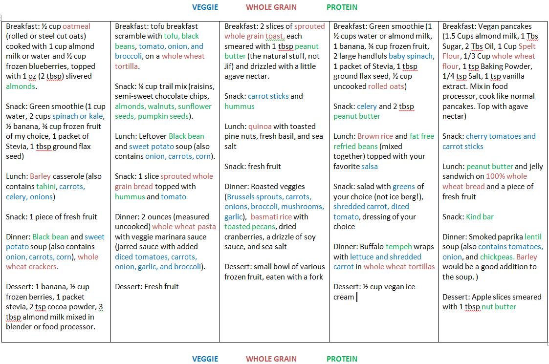 Sample Vegan Menu